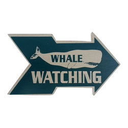 Handcrafted Nautical Decor - Wooden Arrow Whale Watching Beach Sign 10'' - Feel the cool, crisp ocean breeze blow in off the Atlantic, the tolls of harbor and ship bells ringing out through the misty morning, and enjoy this enchanting nautical themed sign. Short and sweet, the Wooden Arrow Whale Watching Beach Sign 10'' perfectly accessorizes your home, office, or even your very own vessel. With its beautiful hand painted appearance, express your love for the sea, the freedom of the open ocean, and the timelessly serene ambiance of nautical life. -- ----    Solid wooden  plank--    Handcrafted and highly detailed--    Meticulously painted nautical theme--