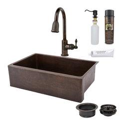 "Premier Copper Products - 33"" Kitchen Apron Sink w/ ORB Faucet - PACKAGE INCLUDES:"