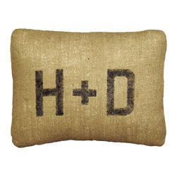 """Sugarboo Designs - Sugarboo Designs Initials Burlap Pillow - The rectangular Initials pillow celebrates beloved couples with its customizable monogram. An ideal wedding shower gift, this accessory takes on a rustic aesthetic with textured burlap. 19""""W x 16""""H; Burlap; Beige and black; Hand stamped ; Choose letters for custom monogram; Custom products are final sale; Spot clean only"""