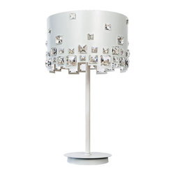 """Lite Source - Contemporary Lite Source Isabella White Crystal Deco Table Lamp - Deco table lamp. White finish. Crystal shade accents. Bejeweled white drum shade with geometric cut detail at bottom. Three maximum 40 watt or equivalent G9 bulbs (not included). 25 1/2"""" high. 13 1/2"""" wide. 13 1/2"""" deep. Shade is 13 1/2"""" across and 9"""" high.  Deco table lamp.  White finish.  Bejeweled white drum shade with geometric cut detail at bottom.  Three maximum 40 watt or equivalent G9 bulbs (not included).  25 1/2"""" high.  Shade is 13 1/2"""" across and 9"""" high."""