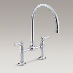 """KOHLER - KOHLER HiRise two-hole deck-mount bridge kitchen sink faucet with 10-1/4"""" goosen - HiRise faucets combine the concepts of vintage plumbing with the strength and beauty of stainless steel to create truly sophisticated designs. This deck-mount bridge faucet reintroduces a classic design that suits urban lofts as well as traditional kitche"""