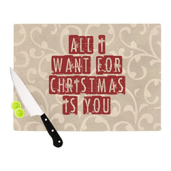 """Kess InHouse - Sylvia Cook """"All I Want For Christmas"""" Holiday Cutting Board (11"""" x 7.5"""") - These sturdy tempered glass cutting boards will make everything you chop look like a Dutch painting. Perfect the art of cooking with your KESS InHouse unique art cutting board. Go for patterns or painted, either way this non-skid, dishwasher safe cutting board is perfect for preparing any artistic dinner or serving. Cut, chop, serve or frame, all of these unique cutting boards are gorgeous."""