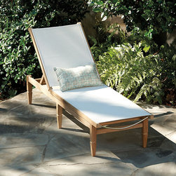 Ballard Designs - Replacement Sling For West Hampton Chaise - Coordinates with our West Hampton Chairs. Adjusts to 4 positions. Back wheels for easy placement. Replacement slings available online. Our West Hampton Chaise blends the beauty of natural teak with the cool convenience of our Quick-Dry Mesh, creating a modern classic. Off-White mesh is woven from strong polyester yarns that can stand up to harsh sun, while allowing water and air to flow through. If left untreated, teak finish will mellow to a warm silvery gray over time. West Hampton Chaise features: . . . .