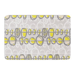 "KESS InHouse - Gill Eggleston ""Benin Yellow Grey"" Memory Foam Bath Mat (24"" x 36"") - These super absorbent bath mats will add comfort and style to your bathroom. These memory foam mats will feel like you are in a spa every time you step out of the shower. Available in two sizes, 17"" x 24"" and 24"" x 36"", with a .5"" thickness and non skid backing, these will fit every style of bathroom. Add comfort like never before in front of your vanity, sink, bathtub, shower or even laundry room. Machine wash cold, gentle cycle, tumble dry low or lay flat to dry. Printed on single side."