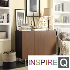 Inspire Q - Inspire Q Buona Two-tone Brown Metal Base Sideboard Storage Buffet Server - Create stylish contrasts in your home decor with this modern Buona buffet server that features chromed 'U' legs. With three doors and adjustable shelves for plentiful storage space, this two-tone brown piece is both practical and stylish.