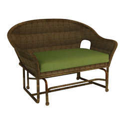 Forever Patio - Rockport Traditional Patio Double Glider Chair, Canvas Parrot Cushions - With the Rockport Double Glider (SKU FP-ROC-G2-CN-CP), your patio will become your favorite spot to relax with its soothing motion and traditional design. Its UV-protected Chestnut wicker and round-weave design creates a warm, traditional look that is made to last. This glider includes a fade- and mildew-resistant Sunbrella cushion; the industry's best outdoor fabric.