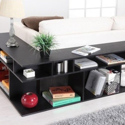 Hokku Designs - Katrin Black Wood/Console Sofa Table - This bold sofa table enlivens your living space with its simple lines and a modern practical design. Features: -Sofa table. -Black finish. -Constructed of wood, medium fiber board and strength enhancing veneers. -Modern style. -For smaller office or living room spaces. -Shelves allow ample spaces for display. -Sleek and durable. -ISTA 3A certified. -Assembly required. Note: The main image shows 2 of these items together. To achieve the same look, purchase 2.