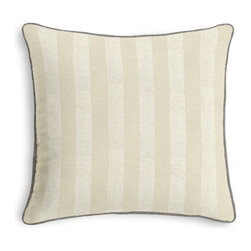 Metallic Silver Striped Ivory Linen Corded Pillow - Black and white photos, Louis XIV chairs, crown molding: classic is always classy. So it is with this long-time decorator's favorite: the Corded Throw Pillow.  We love it in this classic awning stripe with a modern metallic twist: silver foil printed on ivory linen.