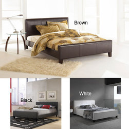 Fashion Bed Group - Euro Full-size Platform Bed - This European styled sleek full-size platform bed will make any modern room the ultimate getaway. It comes in either brown, white, or black to work with your particular color scheme. The headboard is 37, and the foot board 17, inches high.