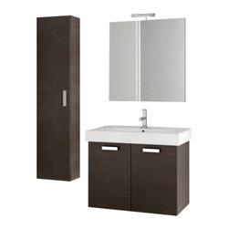 ACF - 30 Inch Wenge Bathroom Vanity Set - Set Includes: Vanity Cabinet (2 Doors), high-end fitted ceramic sink, wall mounted vanity mirror, tall storage cabinet.