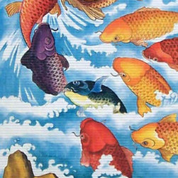 Oriental-Décor - Nine Fish to Nirvana Chinese Scroll - Nothing fishy here. This brilliantly colorful scroll portrays nine koi as they swim upstream in their quest for happiness. Sounds familiar? It's a classic human story, but this time told with such luxurious colors and dramatic design that you can't help but feel the surge of success awaiting.