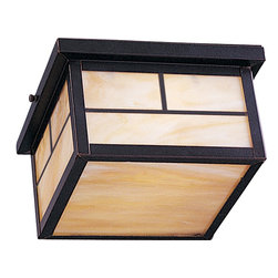 Maxim Lighting - Maxim Lighting Craftsman Aluminum -Outdoor Flush Mount Ceiling Light X-UBOH9504 - Experience a different environment in the exterior of your home by casting a softened glare to the area from the honey glass shade. The box frame enclosed the glass shade with rectangular patterns in a burnished finish. The Maxim Lighting Craftsman Aluminum outdoor flush mount ceiling light provides a striking appeal with Zen influences.