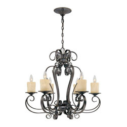 World Imports - Stafford Spring 6-Light Chandelier, Dark Antique Bronze - Styled for the look of old-world charm with a dark antique bronze finish