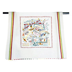 CATSTUDIO - Alabama State Dish Towel by Catstudio - This original design celebrates the State of Alabama.  This design is silk screened, then framed with ahand embroidered border on a 100% cotton dish towel/ hand towel/ guest towel/ bar towel. Three stripes down both sides and hand dyed rick-rack at the top and bottom add a charming vintage touch. Delightfully presented in a reusable organdy pouch. Machine wash and dry.