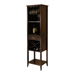 Winsome - Winsome Palani Wine Tower in Cappuccino Finish - Winsome - Wine Racks - 94822 - This handsome and simple Palani Wine Tower in Cappuccino finish is complete with  a built in glass rack storage drawer and 4 wine storage areas. Enhance your dining area and experience with this classic piece.