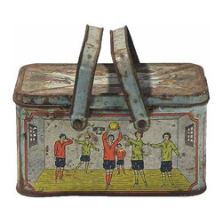 Student's Lunchbox - Art Deco student's lunchbox depicting various scenes of school and extracurricular activities. Some tiny side circular vent holes. Unmarked/Unsigned. Heavy rust on interior and exterior. One minor dent on the tennis side panel.