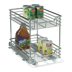 "Household Essentials - 2 Tier Sliding Organizr 11.5In - These standard size commercial grade, heavy duty, chrome wire organizers are easy to install. Full extension slides provide easy access in these under cabinet organizers. The upper and lower shelf are equal in size. Comes with glides fully assembled. Moun  ts to a surface with screws (included). No tools required to add the second tier. The sliders glide on ball bearings for smooth and effortless operation and allow for full tray extension.        11.5""W x 16.5""H x 17.75""D"