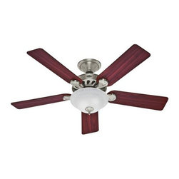 Hunter - Hunter Five Minute Fan (2013) Ceiling Fan in Brushed Nickel - Hunter Five Minute Fan (2013) Model HU-53085 in Brushed Nickel with Reversible Maple/Cherry Blades Finished Blades.