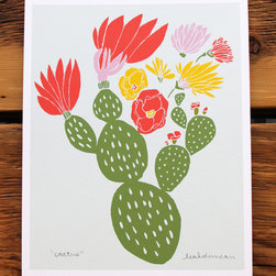 Cactus Print - Flowering cacti are so beautiful. I love the shapes and movement that the flowers create. The print has a lovely color scheme too.