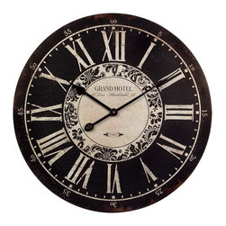 IMAX CORPORATION - Hotel Wall Clock - Black and White, Grand Hotel wall clock. Find home furnishings, decor, and accessories from Posh Urban Furnishings. Beautiful, stylish furniture and decor that will brighten your home instantly. Shop modern, traditional, vintage, and world designs.