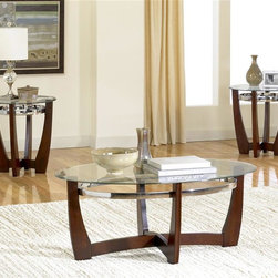 Standard Furniture - Apollo 3-Pack Table Set in Dark Brown - Set includes 1 cocktail table and 2 end tables. Apollo emanates a rhythm and elevates your space to a contemporary air. Brushed Metal color stretchers attach to the table legs to create durable and sturdy tables. Legs overlap in the center to create a contemporary look. Glass tops are removable and easy to clean. Surfaces clean easily with a soft cloth. Quality veneers over Wood products and select solids used throughout. Dark Brown finish. Cocktail table: 48 in. x32 in. x 18 in.. End table: 24 in. x 24 in. x 24 in.