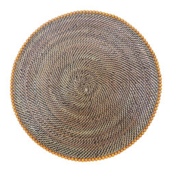 Calaisio - Round, Rattan Placemats with Orange Beads - These hand woven placemats are created from a water vine that only grows in the mountainous areas of the South Pacific. Once reaped it grows back quickly, leaving no damage in these ecologically sensitive forests. They can be easily rinsed off because of the durability of the material. Each piece has a card attached, signed by the artisan that created it. It also lists the time it took for he or she to weave.