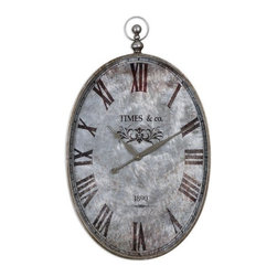 Uttermost - Uttermost Argento Traditional Wall Clock X-24660 - This pocket watch themed wall clock features a brushed aluminum clock face under glass with rust distressing and dark bronze numerals accented with antiqued silver details. Quartz movement.