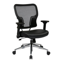 Office Star - Office Star Air Grid Back and Eco Seat Chair with 4-Way Adjustable Flip Arms - Space Seating Air Grid back and Eco Leather Seat chair with 4-Way Adjustable Flip Arms