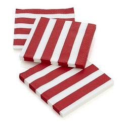 Set of 20 Awning Stripe Paper Beverage Napkins - Red and white partner in summery stripes to accompany icy drinks and tasty bites.