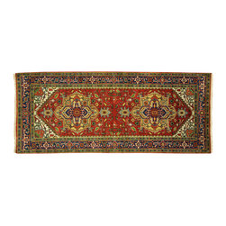 Manhattan Rugs - New Red/Multi-Color Heriz Serapi Wide Runner 4'x10' Hand Knotted Wool Rug H3680 - Heriz is situated in the northwestern part of Iran (Persia).  Though the term covers Hand knotted rugs of numerous small villages in the area, the most beautiful Rugs were woven in Heriz itself For the last 100 years, the Heriz carpet designs have basically remained the same, with only small variations in color pallets and density of the design. The late 19th Century Rug (so called Serapis) was of fewer details and softer colors and with time designs became denser with added jewel tone color pallets. The revival of the carpet industry in the late 19th Century was based on the demand of the Western markets, with America in particular.  Weavers in Heriz hand knotted were asked to make carpets inspired by the Fereghan Sarouks of higher cost for consumers of more limited budgets. Even though Sarouk carpets changed style later on, Heriz weavers stayed with the geometric pattern till now.  However, Heriz was also a center of production of some of the best handmade carpets with both geometric and curvilinear floral patterns.  A special heirloom wash produces the subtle color variations that give rugs their distinctive antique look.