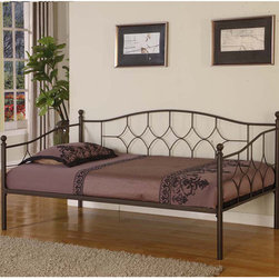 None - Steel Twin-size Day Bed - Made of durable steel,this twin-size day bed frame will sleep one person comfortably. If guests frequent your home,this convenient day bed is an excellent option to have around.