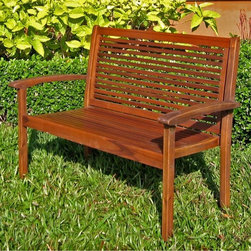 International Caravan - All-Weather Wood Garden Bench w Arms - In stain finish. Made of Acacia hardwood. Contemporary unique design. Very stable. Smooth finish. 40 in. W x 20 in. L x 36 in. H