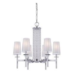 Designers Fountain - Designers Fountain 83986-CH 6-Light Chandelier - Chrome Finish, Silver Organza Fabric Glass/Shade