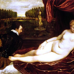 """Titian  Venus with Organist - 16"""" x 24"""" Premium Archival Print - 16"""" x 24"""" Titian  Venus with Organist premium archival print reproduced to meet museum quality standards. Our museum quality archival prints are produced using high-precision print technology for a more accurate reproduction printed on high quality, heavyweight matte presentation paper with fade-resistant, archival inks. Our progressive business model allows us to offer works of art to you at the best wholesale pricing, significantly less than art gallery prices, affordable to all. This line of artwork is produced with extra white border space (if you choose to have it framed, for your framer to work with to frame properly or utilize a larger mat and/or frame).  We present a comprehensive collection of exceptional art reproductions byTitian ."""