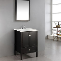 WyndenHall - Windham Black 24-inch Bath Vanity with 2 Doors, Bottom Drawer and White Quartz M - Prepare a new place for brushing your teeth and washing your hands by installing this sleek 24-inch bath vanity. The entire cabinet features a matte black lacquer finish that contrasts sharply with the luxurious white marble top and sink.