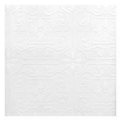 Brewster Home Fashions - Talavera Flower Tile Paintable Wallpaper Bolt - This paintable wallpaper has a well textured relief that lays a pretty tile pattern on your walls. A cheerful and cultured print that draws inspiration from Spanish tiles and ceiling tiles this paintable wall solution can be customized with the color of your choice. Cover problem walls and ceilings with an affordable wall solution.