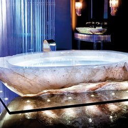 Rock Crystal Bath Tub - The bathtub is carved out of a solid Rock Crystal block found in