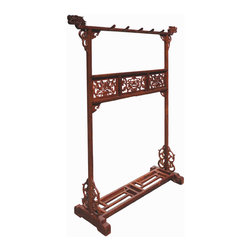 Elegant Chinese HuaLi Rose Wood Dragon Carving Garment Rack Hanger - This is a Chinese traditional clothes rack which is made of HuaLiMu is also called Rose Wood. It comes with openwork carving of double dragon chasing a ball. At night, Chinese nobles tossed their discarded robes over a garment rack to protect them from wrinkles. This ancient stand up coat hanger was once one of the most common of household accessories a necessity because Chinese architectural traditions did not provide for closet space. Garment rack usually was part of the dowry and was decorated with auspicious symbols to promote marital bliss and longevity. Right now, you can put this piece in your living room as room divider.