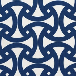 Schumacher - Santorini Print Fabric, Marine - 2 YARD MINIMUM ORDER