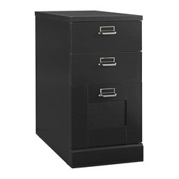 Bush - 3 Drawer Pedestal - Classic Black finish. Can be positioned on either side of desk. Same height as desk, for expanded work surface. Two drawers hold miscellaneous supplies and one file drawer accommodates letter-, legal- and A4-size files. Perfect for home use. 15.59 in. W x 22.56 in. L x 29.33 in. HWhen space is at a premium and you need a compact yet functional workstation, think Stock port.