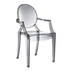 """Modway - Casper Dining Chair in Smoke - Combine artistic endeavors into a unified vision of harmony and grace with the ethereal Casper Chair. Allow bursts of creative energy to reach every aspect of your contemporary living space as this masterpiece reinvents your surroundings. Surprisingly sturdy and durable, the Casper Chair is appropriate for any room or outdoor setting. Pure perception awaits, as shining moments of brilliance turn visual vacuums into new realms of transcendence. Includes: One - Casper Armchair; For All Weather Use; No Assembly Required; Injection Molded; Stackable; Sturdy Acrylic; Dimensions: 22""""L x 21""""W x 36""""H; Seat Height: 18.5""""H; Armrest Height: 26""""H"""