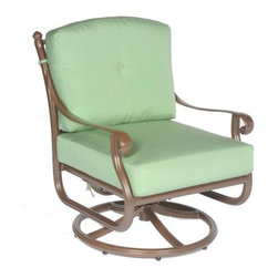 Meadow Decor Kingston Swivel Club Chair - You'll sit down in the Meadow Decor Kingston Swivel Club Chair and never want to get back up. You'll love sinking back in the deep seat of this chair after a long day closing your eyes and enjoying the waning rays of the sun on your face. Crafted from rust-resistant cast aluminum this chair comes in your choice of powder-coated finishes that you're sure to love. Your friends will love being invited over for a drink and a chat so they can enjoy the comfort of the Swivel Club Chair with you. This chair comes with cushions in your choice of color so you can accent the frame and complement your outdoor decor. On the weekends this chair is perfect for curling up with a good book by yourself or having your kids sit in your lap while you tell them a story. The back of this chair features a gorgeous and intricate design which adds to the elegance of the chair and you can choose whether to place the back cushion on the chair or keep it off for fancier occasions. The Swivel Club Chair includes a 10 year warranty on the frame and a 3-year finish warranty. Cushion construction is covered for 1 year while Sunbrella fabrics have a 5-year fade warranty. About SunbrellaSunbrella has been the leader in performance fabrics for over 45 years. Impeccable quality sophisticated styling and best-in-class warranties prove the new generation of Sunbrella offers more possibilities than ever. Sunbrella fabrics are breathable and water-repellant. If kept dry they will not support the growth of mildew as natural fibers will. Beautiful and durable Sunbrella is a name you can trust in your outdoor furniture. Cleaning and Caring for SunbrellaRegular maintenance is the best way to keep your Sunbrella fabrics looking good and delay deep vigorous cleaning. Brush off dirt before it becomes embedded in the fabrics and wipe up spills as soon as they occur. For light cleaning use a mild soap and water solution and a sponge allowing your cleaning solution to soak into the fabric. Rinse thoroughly to remove all soap residues and allow fabric to air dry. About Meadow DecorMeadow Decor is a leader in the casual and outdoor furniture industry thanks to its elegant and unique designs affordable prices and insistence on premium-quality products and construction. Meadow Decor customers are guaranteed to be served to their full satisfaction; the company's goal is to provide each valued customer with top-quality products attentive service and the best possible prices. The combination of ingenious designs and value for money makes Meadow Decor the ideal choice for outdoor living and entertaining.
