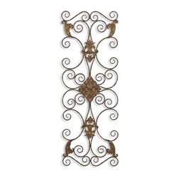 Uttermost - Fayola Metal Wall Art - When is the last time you thought about hanging metal as art? Probably only when you go to MOMA and then you realize it's beyond your budget. This hand-forged metal piece is distressed with an aged black finish and rust brown undertones. The light tan detailing gives pops of gold. Now you can think about metal artwork again.
