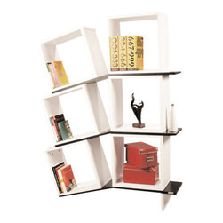 Decortie - BALANCE BOOKCASE - Contemporary design with a twist, the Balanced Book Shelf would be a fabulous addition to a modern household. Featuring six cubby holes and three shelves with half of the book shelf on a downward slope. This unique piece is perfect for any living environment, finished in Black and White.