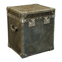 Kathy Kuo Home - Oxford Modern Industrial Olive Leather Trunk End Table - Handsome. Rugged. Well-traveled. This end table is guaranteed to evoke images of time past. It features olive green leather, brushed nickel hardware and an Oxford University crest. Perhaps an upperclassman used something similar on his trans-Atlantic trip home.
