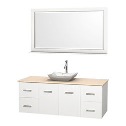 """Wyndham Collection - Centra 60"""" White Single Vanity, Ivory Marble Top, White Carrera Marble Sink - Simplicity and elegance combine in the perfect lines of the Centra vanity by the Wyndham Collection. If cutting-edge contemporary design is your style then the Centra vanity is for you - modern, chic and built to last a lifetime. Available with green glass, pure white man-made stone, ivory marble or white carrera marble counters, with stunning vessel or undermount sink(s) and matching mirror(s). Featuring soft close door hinges, drawer glides, and meticulously finished with brushed chrome hardware. The attention to detail on this beautiful vanity is second to none."""