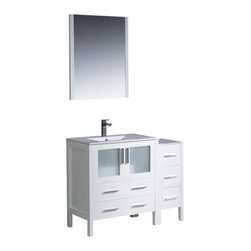 "Fresca - Fresca Torino 42"" Modern Bathroom Vanity w/ One Side Cabinet & Integrated Sink - - Fresca is pleased to usher in a new age of customization with the introduction of its Torino line. The frosted glass panels of the doors balance out the sleek and modern lines of Torino, making it fit perfectly in either Town or Country dcor."