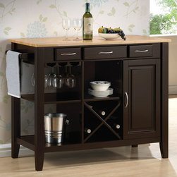 Coaster - 910028 Kitchen Cart - This kitchen island is crafted with a solid rubberwood butcher block work surface. Finished in natural and cappuccino. Find great use of its three drawers, stemware rack, open storage and wine bottle holder.