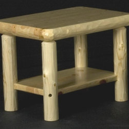 Viking Log Furniture - Northern Exposure End Table w Shelf (Clear) - Finish: Clear. Northern Exposure Collection. Top is constructed of 2.50 in. thick solid knotty Ponderosa Pine strips that are laminated together which helps to prevent warping and cracking. Edges are hand scalloped using a drawknife to give each table that rustic or lodge look. Legs are also hand scalloped using a drawknife to give them character and are secured to the top using mortise and tenon construction. Made to order in the US. Pictured in Clear. Lifetime warranty. 28 in. W x 20 in. D x 21 in. HThese standard Northern Exposure End Tables have been upgraded by adding a shelf to provide extra storage for books, magazines or what ever else you might want to store under the table. These log tables go great with any log or lodge style futon or sofa.