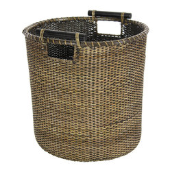 Oriental Furniture - Rattan Round Waste Bin - Antique Finish - This natural fiber basket was built with hand-woven split rattan, finished with an antique stain, and lashed with distinctive kiln dried wooden handles.  Its convenient size yields a multitude of uses, such as a sewing or crafter's kit, a display for dried flowers or collectables, or as a decorative waste basket.